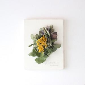 """植物キャンバスS """"ミモザとユーカリのオーバルリース""""【bdfa200023】ドライフラワー"""