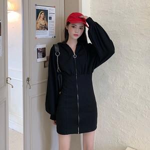 【ワンピース】ストリート個性ファッションフード付きスリムハイウエストセレブリティカジュアルワンピース35970298