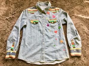 花 ハート 刺繍 ラグ デニム ウエスタンシャツ ヒッピー サーフ メキシカン ネイティブ