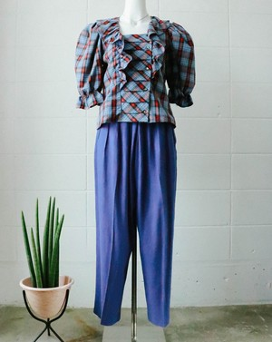high rise tapered blue pants
