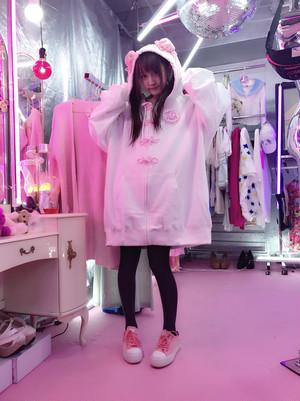 予約✨恋印ぴんくネオチャイナBIGzipパーカー/魔法都市東京×神様ごっこ