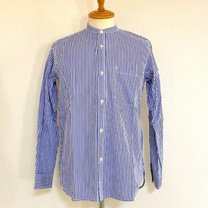 Stripe Band Collar Shirts Blue