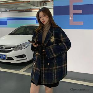 【アウター】韓国系チェック柄長袖切り替えジャケット25201566