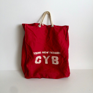 Vintage Tote Bag Red Cotton Canvas ヴィンテージのトートバッグ 赤いコットンキャンバス