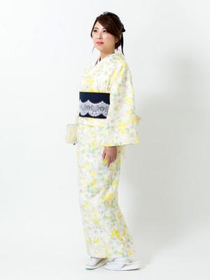 えもん 簡単 花すかし イエロー ジャケット スカート (Bタイプ) 着物 kimono Lサイズ