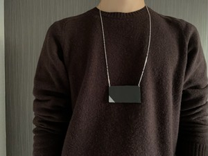 Leather square necklace