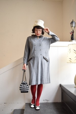 vintage astrakhan like fake fur gray knit dress