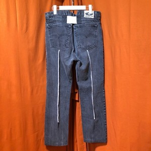 Back Rubber Line Denim Pants    Color : type G