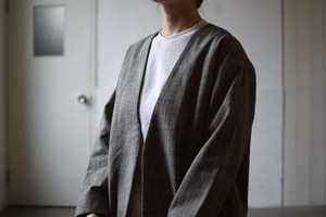 V-neck jacket(COTTON SLAB YARN)/ miho umezawa