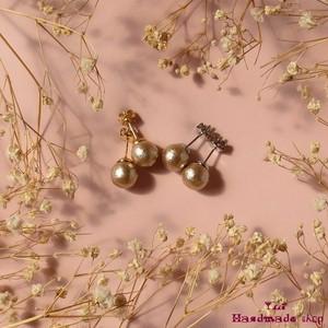 小さめピアス8mm ★ ベージュのコットンパール ❤ シンプル