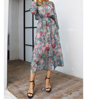 【お取り寄せ】ヴィンテージテイスト フラワー ワンピース 花柄 ドレス