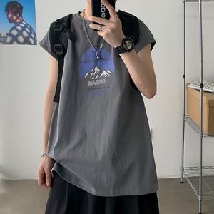ロゴプリントノースリーブシャツ BL6166