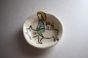 室井雑貨屋(室井夏実)|豆皿 ヤギとワタシと猫