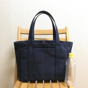 「ポケットトート」通勤トート「ネイビー(紺)」帆布トートバッグ 倉敷帆布8号