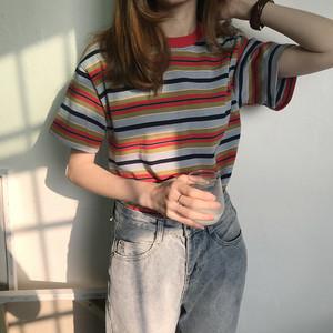【送料無料】マルチボーダーがおしゃれ♡ レトロ カジュアル メンズライク 半袖 ボーダー Tシャツ カットソー