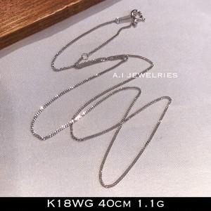 K18WG 18金ホワイトゴールド 40cm チェーン ネックレス chain necklace 1.1g 2面喜平 2cut