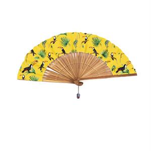 フレンチブランド Nach と伝統扇子会社 伊場仙のコラボ 黄色 南国鳥とカメレオン
