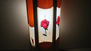 切り絵デザイン(薔薇) 木と深山和紙の 木製 照明   No.   031