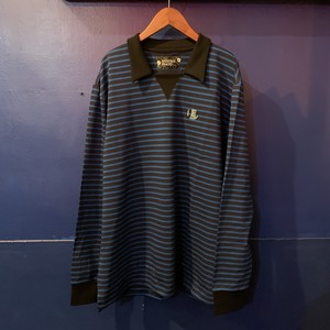 "EBINOMA Long sleeve Polo ""Espresso""ver.5(royal blue × navy×silver grey×teal)"