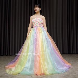 上半身お花のAラインレインボーウエディングドレス(パニエ付)/披露宴/フォト婚