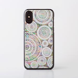 [天然貝ケース] iPhone/Xperia/Galaxyケース(ホワイトレース・黒カバー)<螺鈿アート>【ラッピング対応】