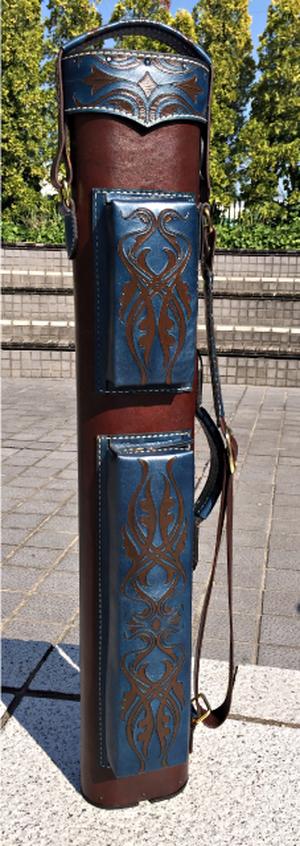ヴォルツーリカスタムキューケース(ブラウン・ターコイズブルー)3x6