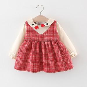 【子供服】多色通販可愛いチェック柄長袖女の子ワンピース23176529