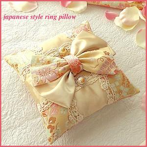 2布を使った市松和風リングピロー