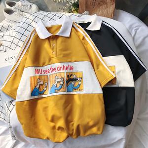 【トップス】キュート学園風夏プリントPOLOネックTシャツ