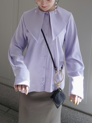 【予約】triangle collar blouse / lavender (4月中旬発送予定)