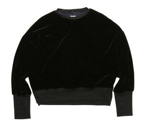 MY__ / VELOUR LACE-UP PULLOVER[BLACK]