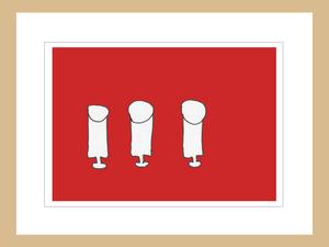 プリント額絵:なおき作「赤いテーブルクロス」