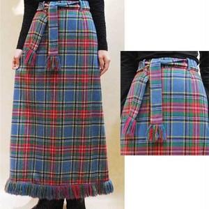 XS~Mサイズ【アメリカ製古着】1970年代ヴィンテージ◆伝統的なチェック柄◆ウール◆マキシ丈(ロング)スカート