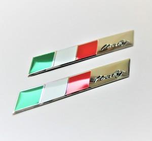 ワンポイントに最適! メタルデザインエンブレム Tricolore トリコローレ イタリアーノ 2枚セット