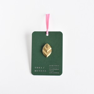 【Brooch】Leaf / Stripe S brass