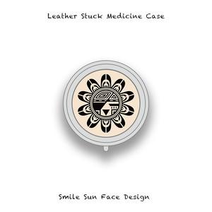 Leather Stuck Medicine Case ( Small Round Shape ) / Smile Sun Face Skull Design 002