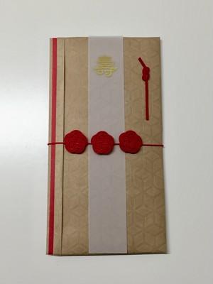 祝儀袋(並び梅)クラフトキューブ 赤