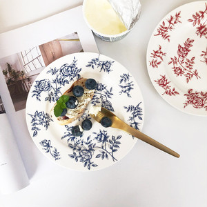 french flower plate 2colors / レトロ フレンチ フラワー プレート