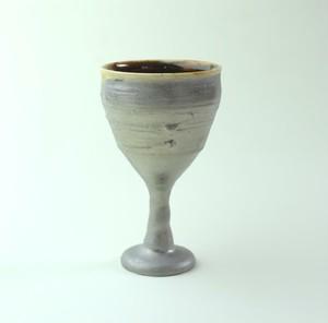 玳玻盞ワイングラスNO.3/プラチナ仕上げ /高級ワイングラス / 陶器 /陶芸家のうつわ /器 gallery