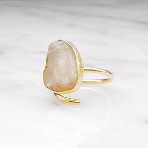 ROUGH BIG STONE RING GOLD 001