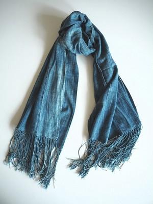【西アフリカ】 天然藍染の古布ショール-A