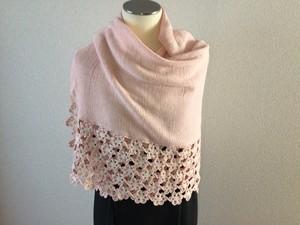 綿&絹 手編み ニット ストール ピンク