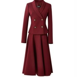 送料無料/スーツセットアップ/ワインレッド/ダブルボタンジャケット+スカート