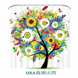 Malicosmile カラフルシャワーカーテン Shower Curtain Tree Design,  180cm x 180cm
