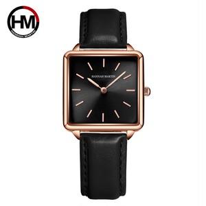 本革ストラップ日本クォーツムーブメントHM-108女性シンプルなデザインのトップの高級ブランド腕時計レディーススクエア腕時計108PH2