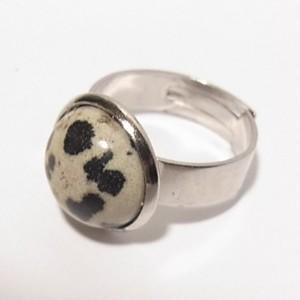 天然石ダルマシアンジャスパーのフリーサイズリング コスチュームジュエリーのセール通販 5431R