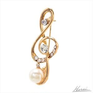 【即納】 Horai ブローチ音符 デザイン ラインストーン パール ゴールド 結婚式 お呼ばれ