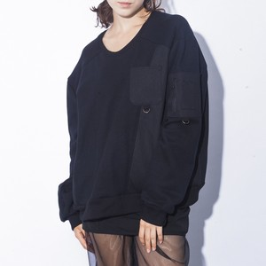 Denim Mix Sweat / BLACK