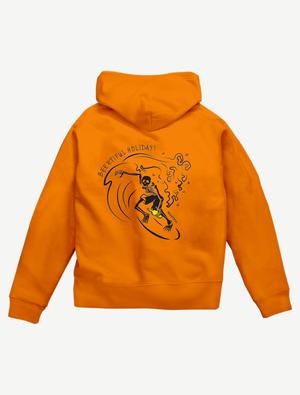 【サーフィンガイコツ】ジップパーカー(オレンジ)