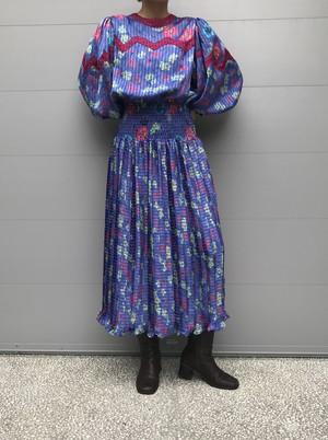80s floral & plaid dress